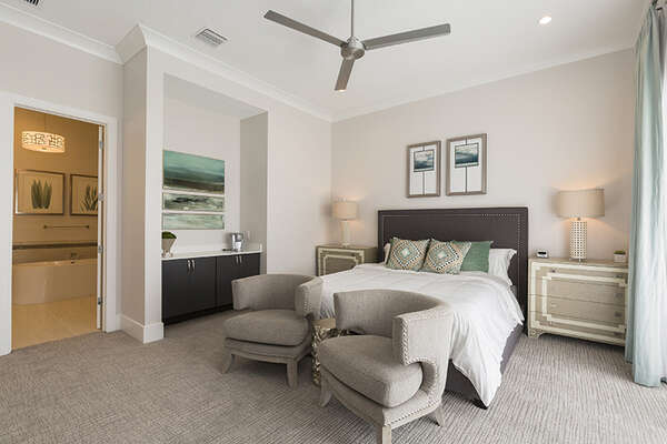 Master Suite 12 with a king side bed and en-suite bathroom.