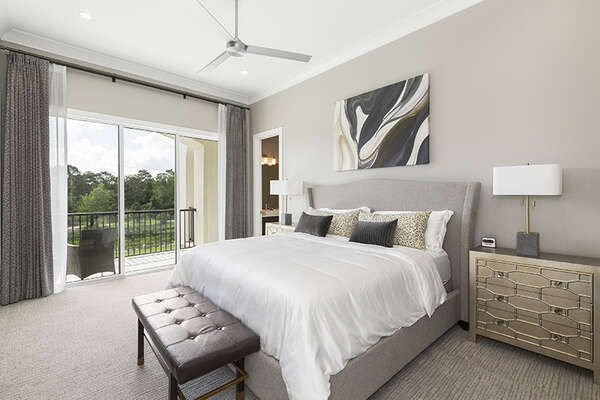 Master Suite 7 features a king bed, en-suite bathroom, and access to patio balcony.