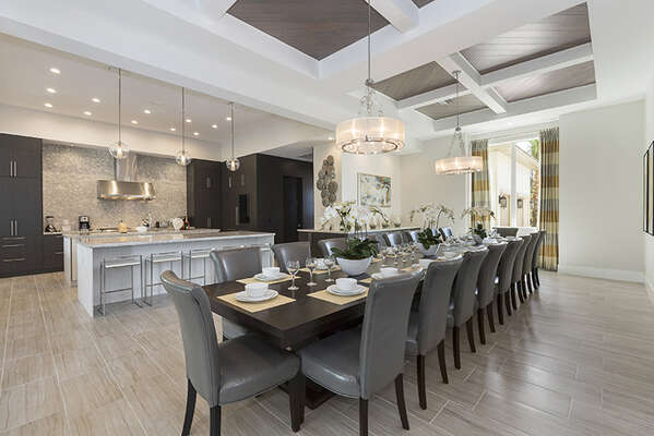 Elegant dining table to seat up to 20 guests.
