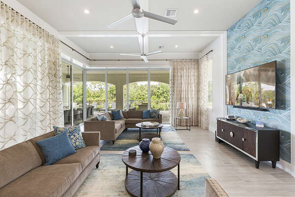 Gorgeous living area with an exquisite view to the outdoor.