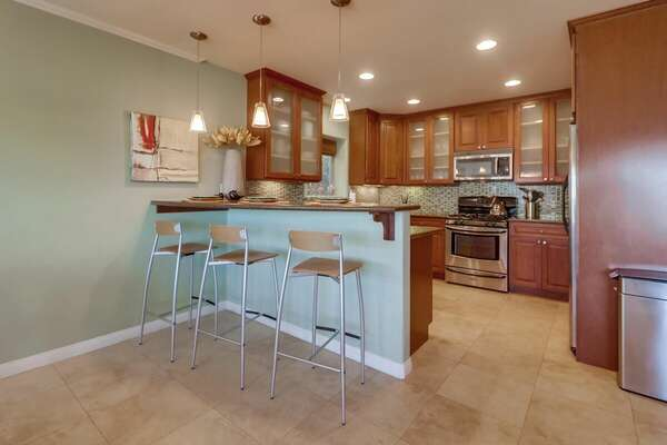 Fully Stocked Kitchen with Breakfast Bar in our San Diego Vacation Rental