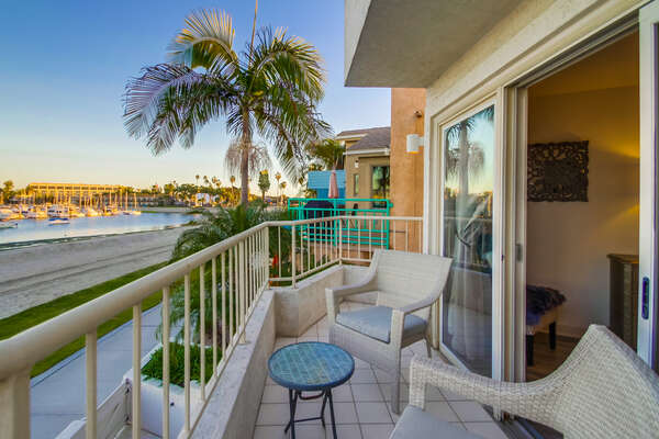 Patio at this Vacation Home Rental in San Diego with two chairs