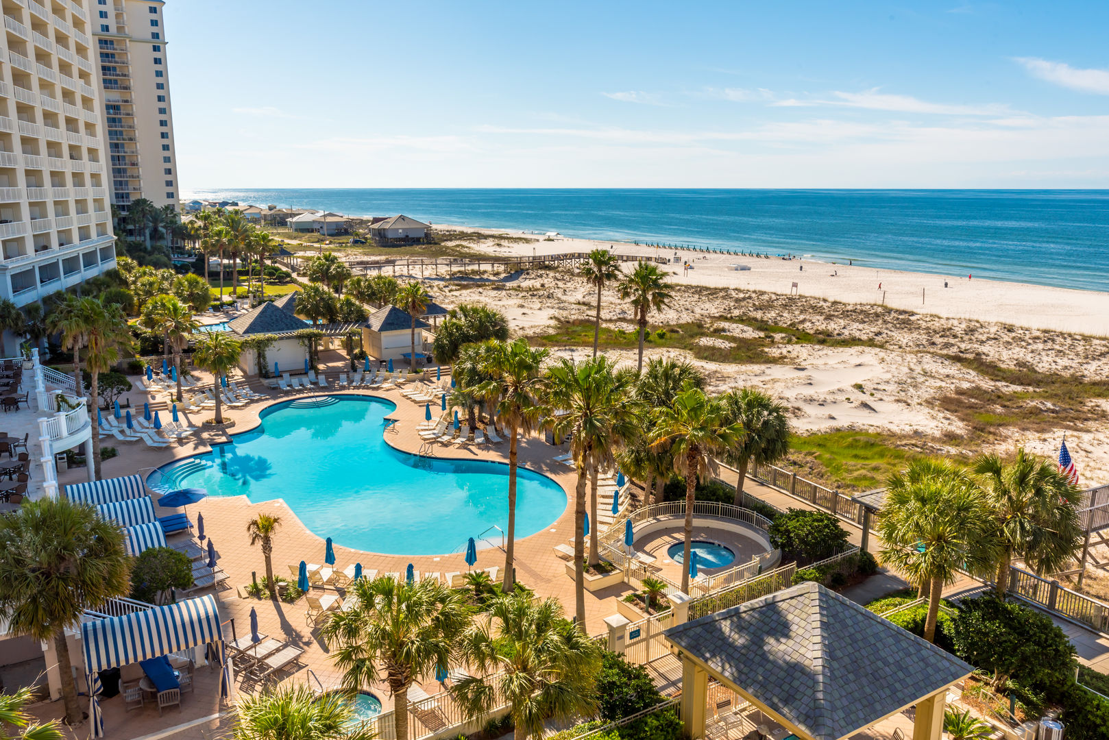 Aerial Picture of the Pool, Hot Tub, Palm Trees, and the Beach.
