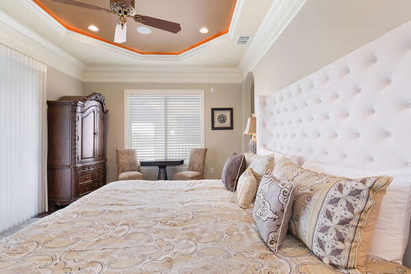 Plenty of space in the bedroom and access to the balcony.