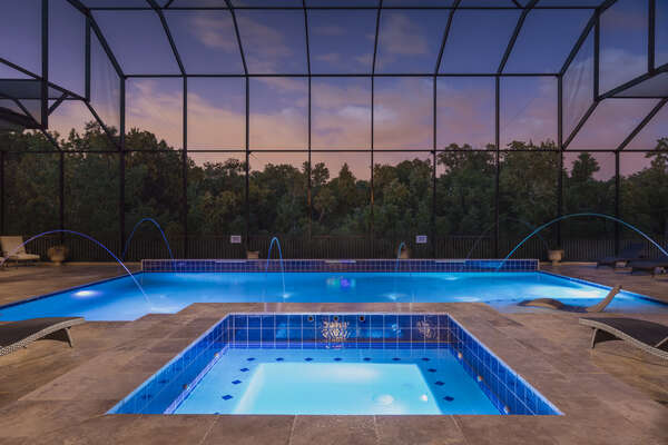 The covered pool is perfect for spending days and evenings by the pool.