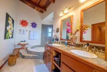 Large Master bathroom with walk-up shower and double sinks