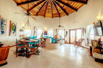 Beautiful high ceiling in living area. Beach themed and designed for comfort