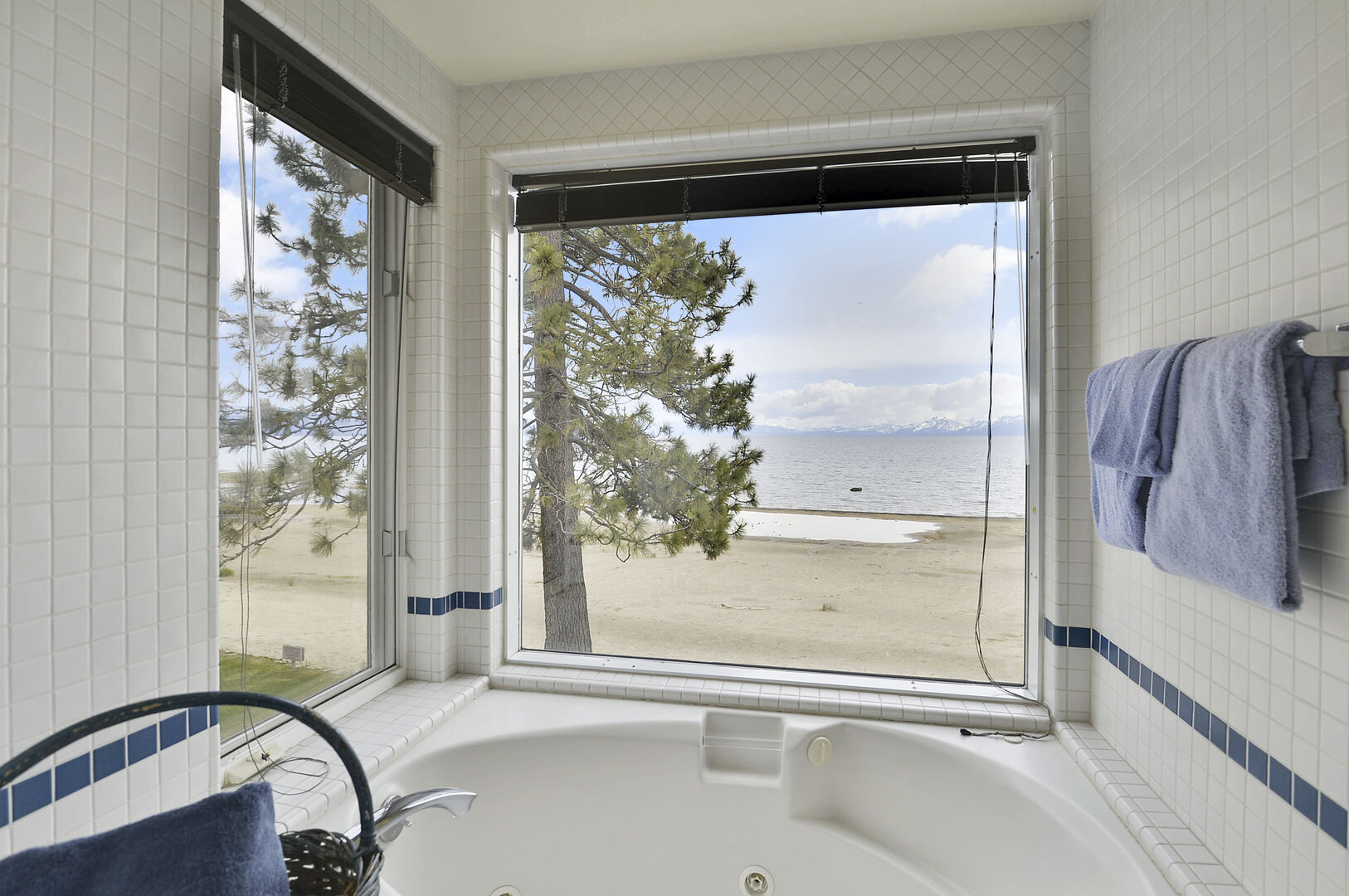 Bathtub and Windows with a View of the Lake, and Pine Tree.