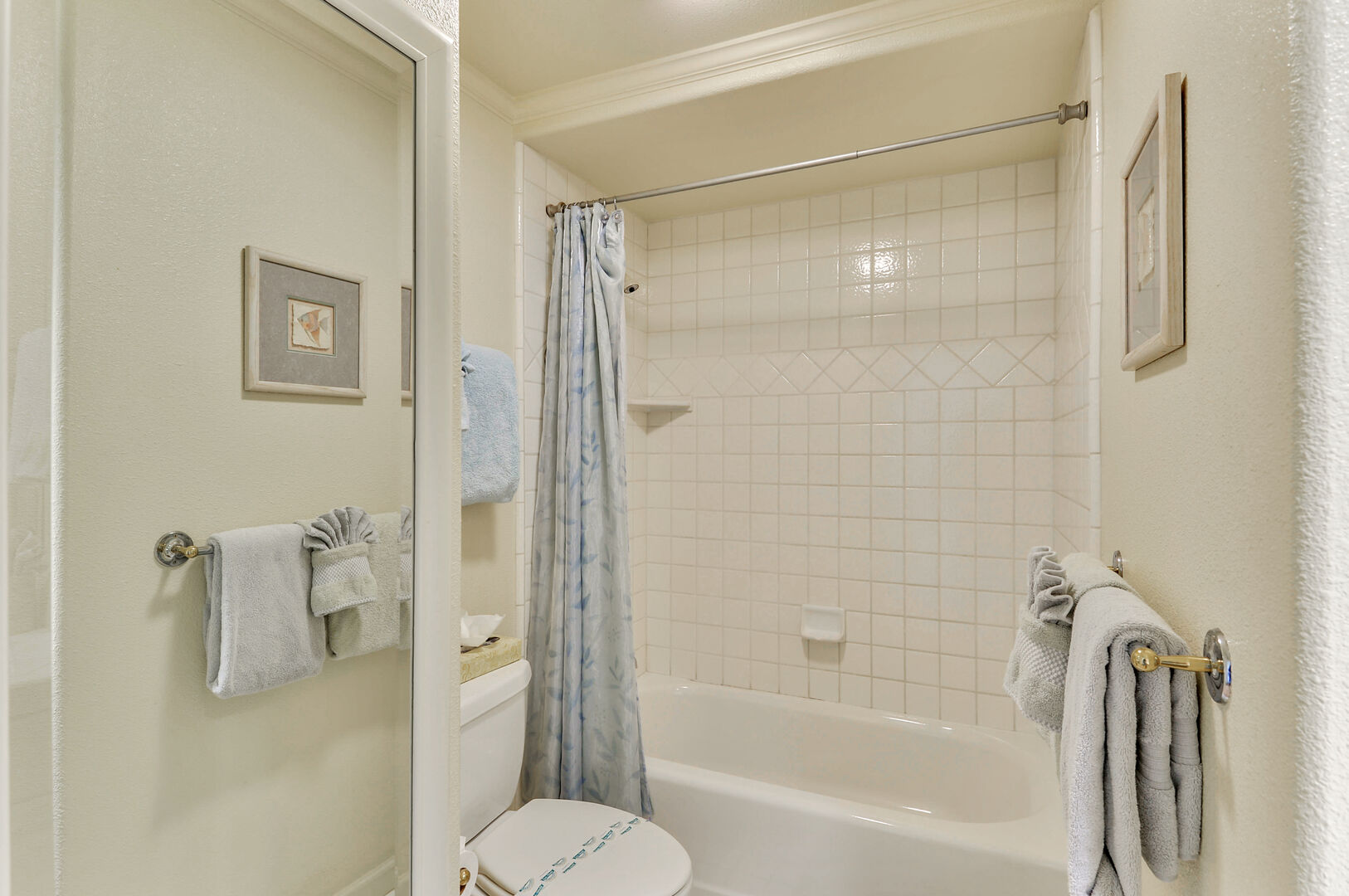 Tub and Shower Unit, Toilet, and Mirror Sliding Door.
