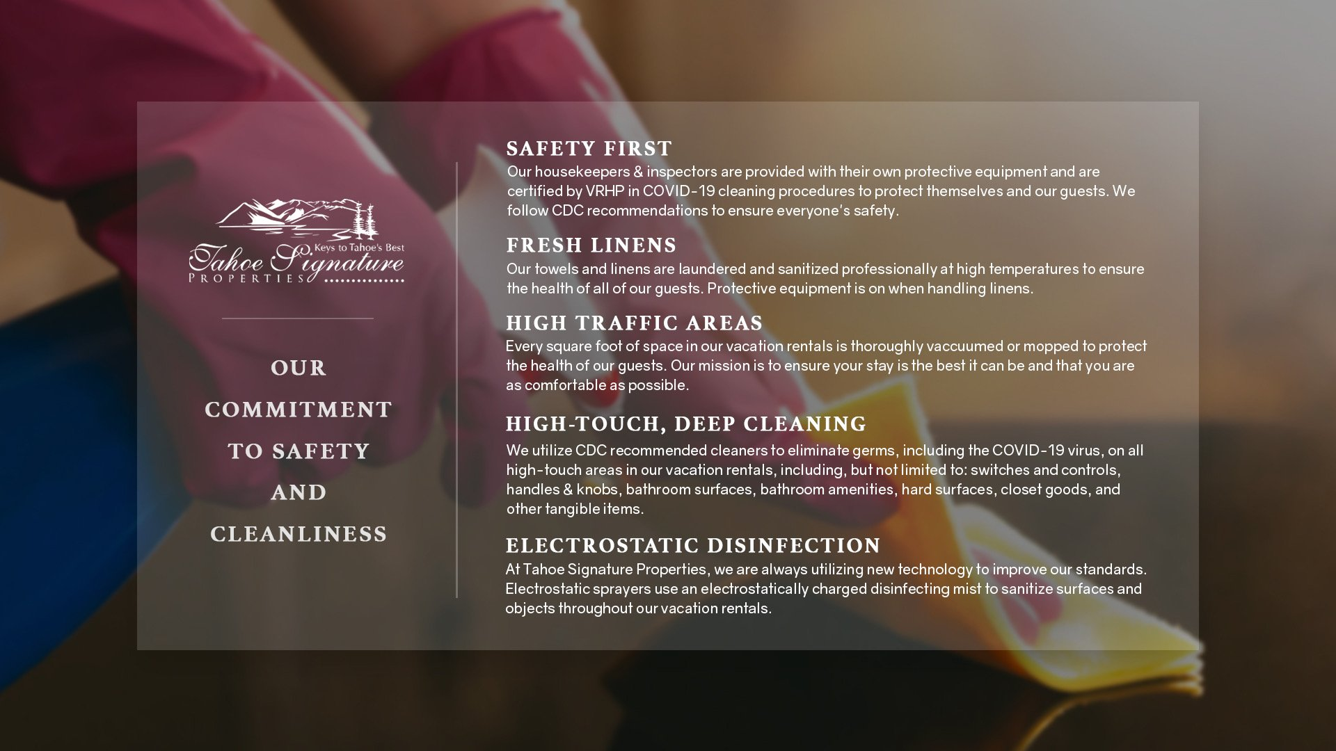 Safety and Cleanliness Guidelines of Vacation Rental in Truckee CA.
