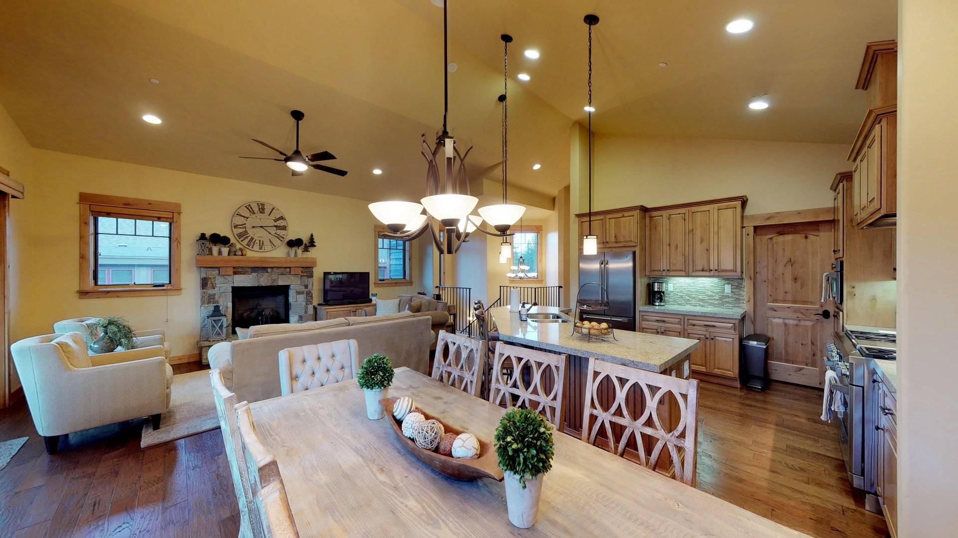 Large Wooden Dining Table and Chairs in Vacation Rental in Truckee CA.