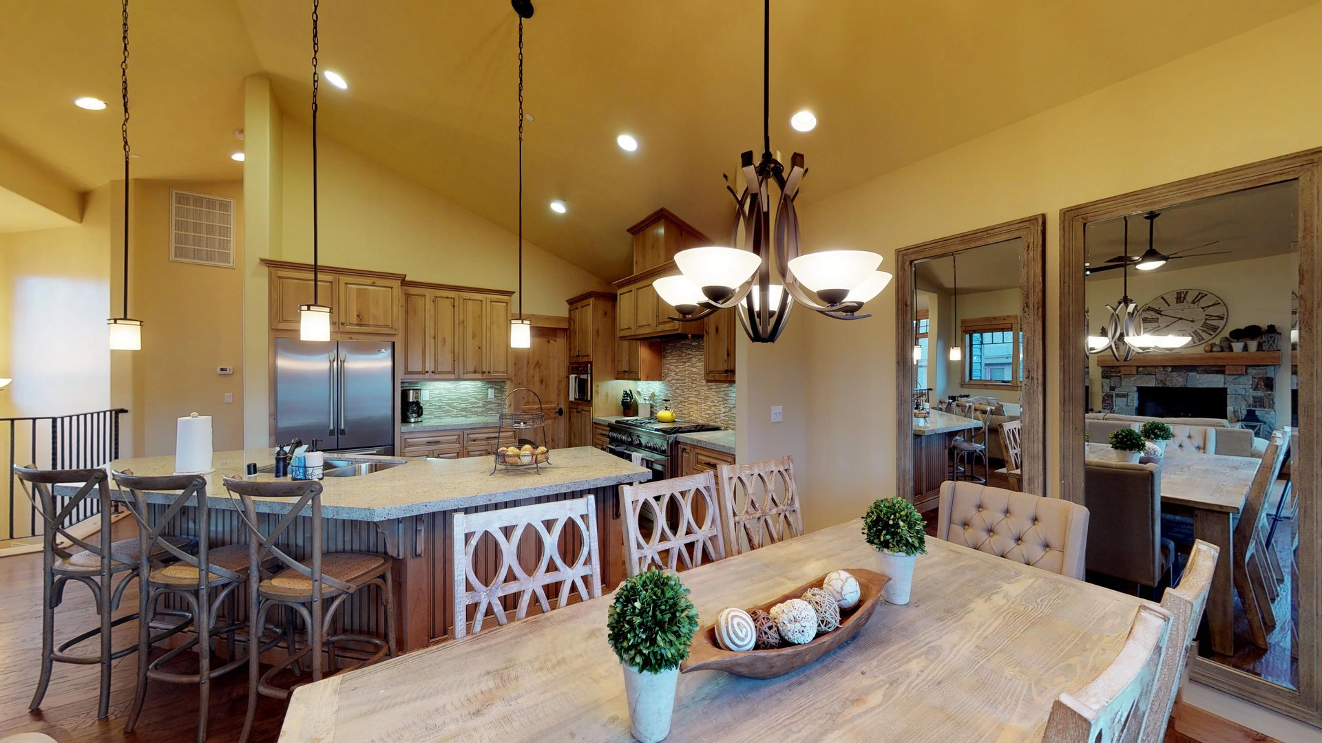 An Image of Kitchen of Large Dining Table.