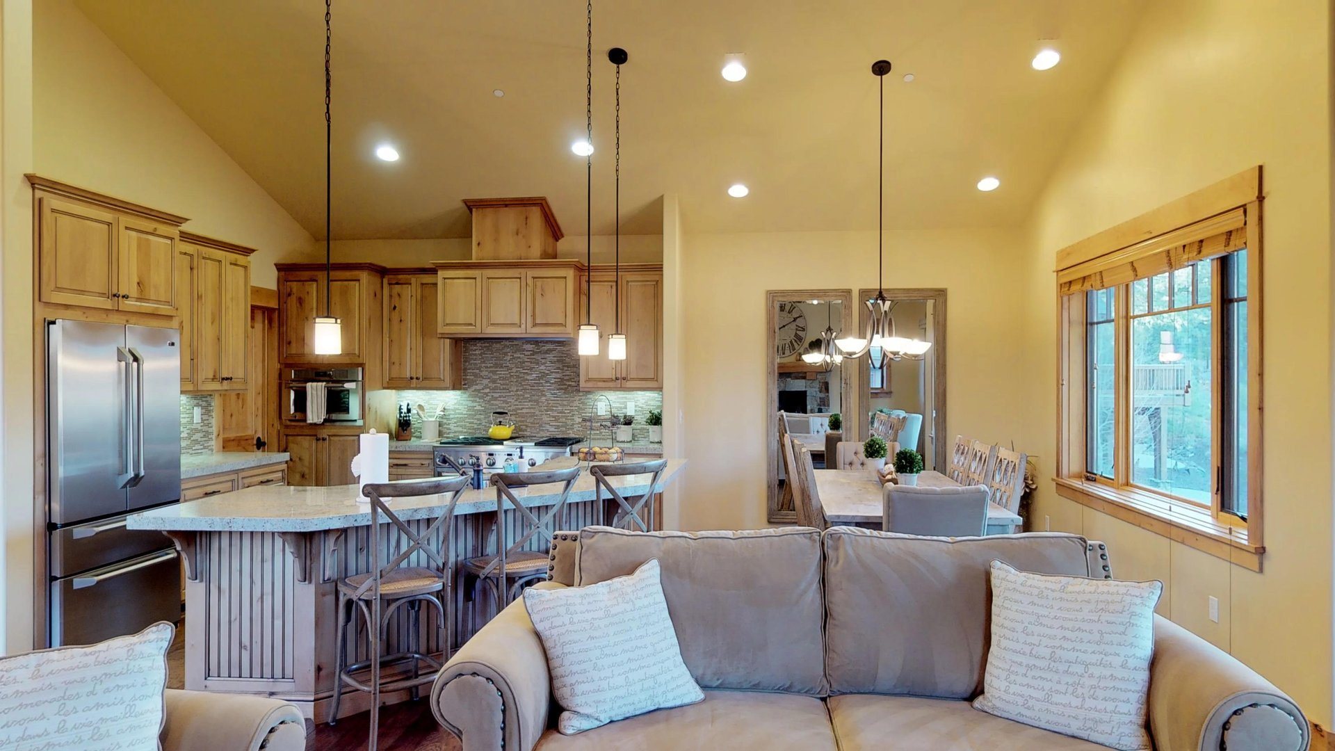 Large Kitchen Opens Up to Living Space in Vacation Rental in Truckee CA.