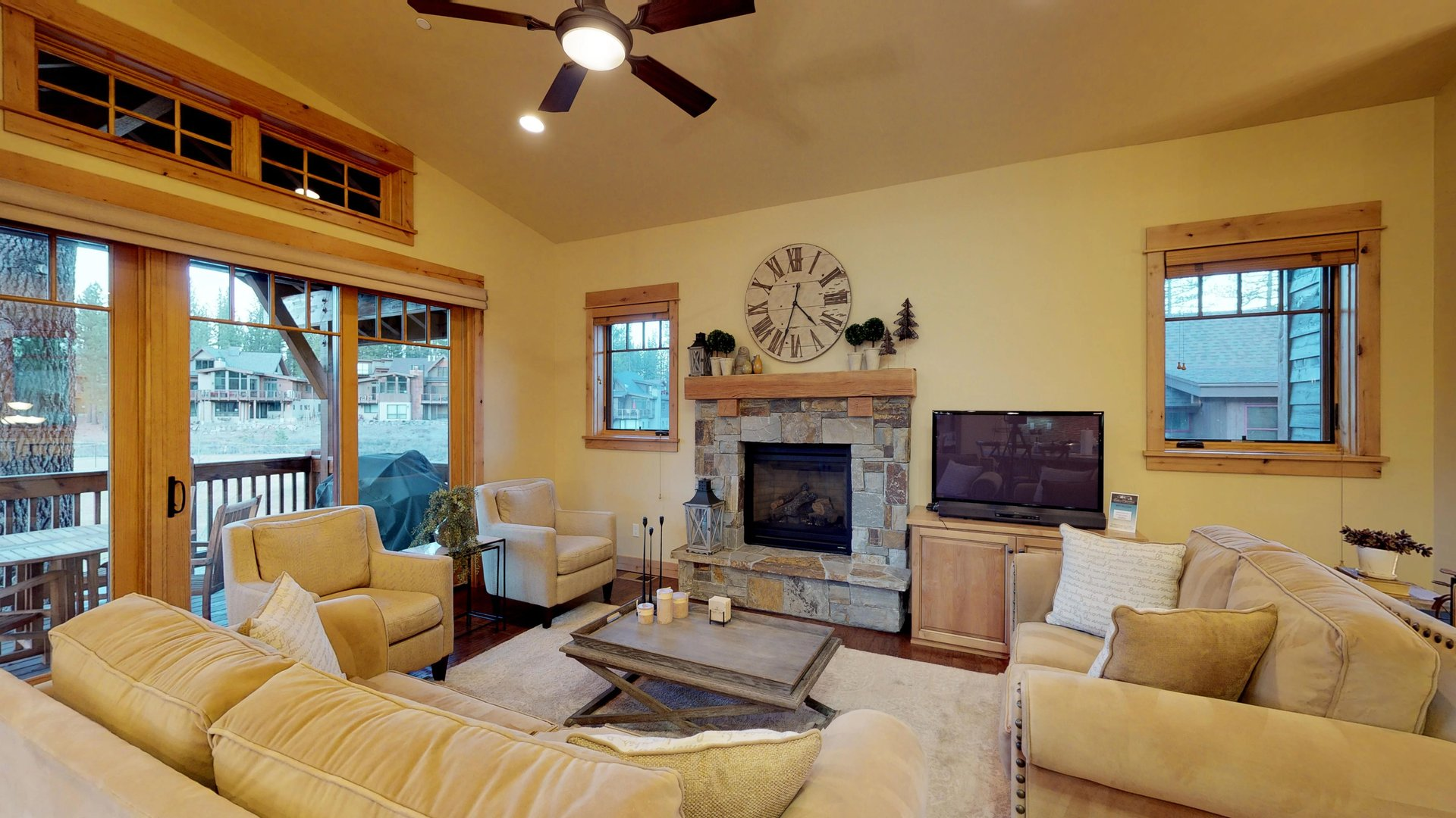 Two Sofas, Two Chairs, and Coffee Table in Vacation Rental in Truckee CA.