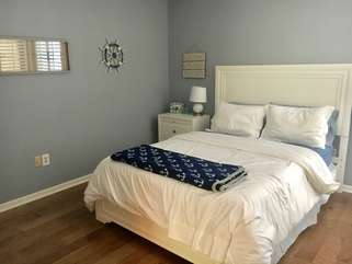 The downstairs guest bedroom