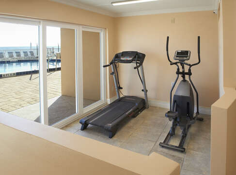 Onsite fitness area overlooking the Ocean
