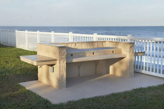 Charcoal BBQ stands overlooking the Ocean