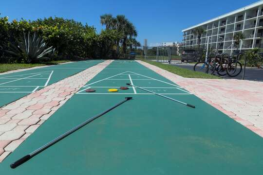 2 shuffleboards and putting green @ Canaveral Towers