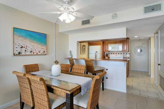 Dining area with large table to enjoy home cooked meals