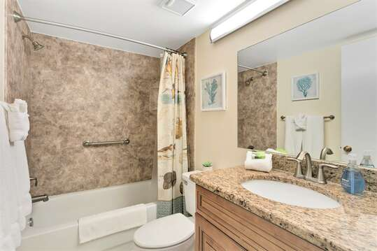 Guest Bathroom with tub/shower & granite counters