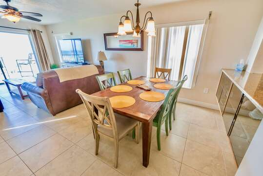 The dining room table with comfortable seating.