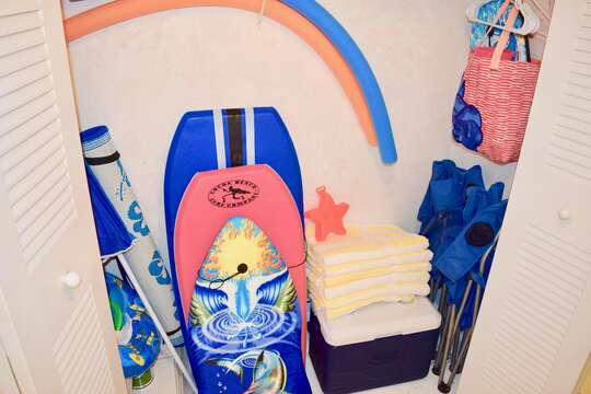 Enjoy the beach towels, cooler and toys.