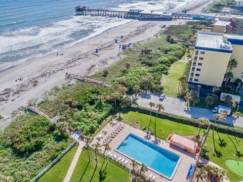 Cocoa Beach Towers is directly ON the beach and just steps to the Cocoa Beach Pier.