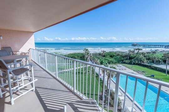 Enjoy breathtaking views of the Ocean and Cocoa Beach Pier.