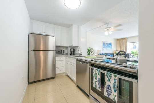 Enjoy cooking in this brand new (June, 2018) kitchen (new cabinets, quartz counters, new stainless appliances).