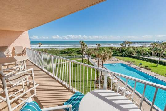 Enjoy the best view in Cocoa Beach. Direct view of the ocean and Cocoa Beach Pier.