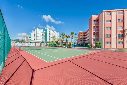 Tennis courts on site.