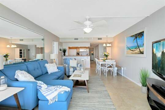 Open concept beach inspired condo for your next family vacation