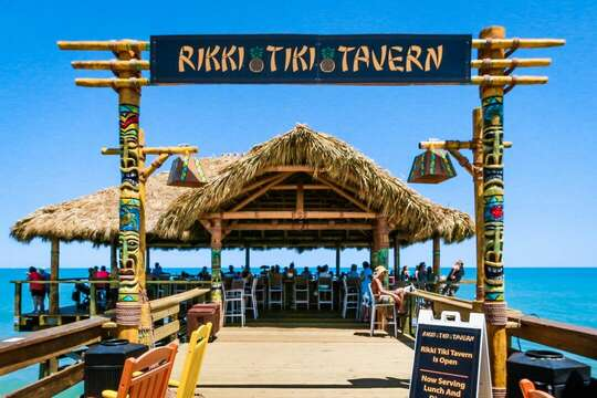 Tiki bar at the end of the Pier