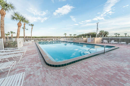 Canaveral Towers has the largest heated pool in the area & plenty of loungers