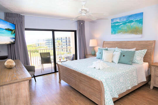 Master bedroom 2 with direct ocean views from your king bed