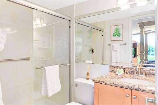 Master ensuite with granite counters & walk-in shower