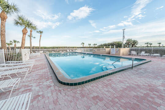 Canaveral Towers has the largest pool in the area, as well as a sauna