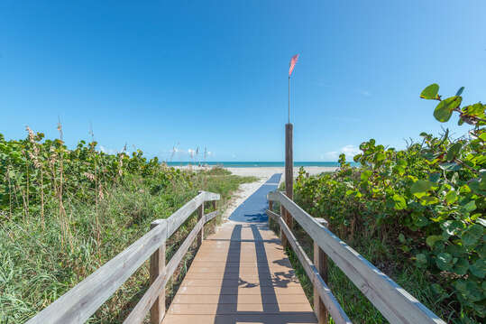 Steps from the pool is our beach access @ Canaveral Towers!