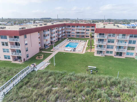 Direct beach access! Unit 68 is to the right of the pool on the front of the building, corner unit (3rd floor)
