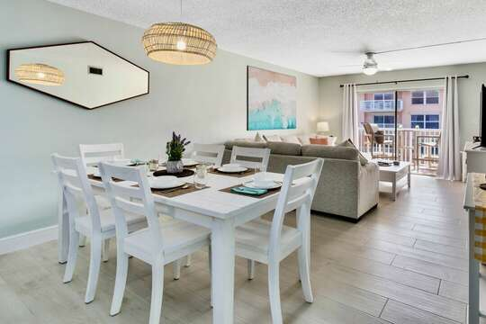 Bright living and dining area.