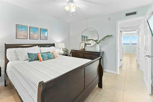 Guest Bedroom with Queen bed and TV (there is not a view of the ocean from this bedroom)