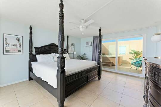 Master Bedroom #1 with access to private balcony and hot tub room