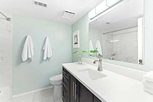 Renovated guest bathroom with tub/shower