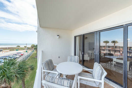 Large private balcony with ocean view to the east