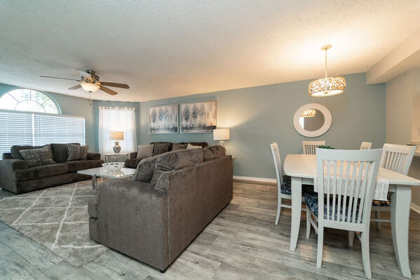 Open floor plan with living and dining rooms
