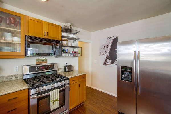 Kitchen Refrigerator, and Microwave.
