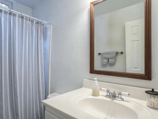 2nd bath access off the hallway with shower/tub combination.