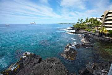 Views of the Ocean and Shoreline from the Private Lanai at Hale Kona Kai 410