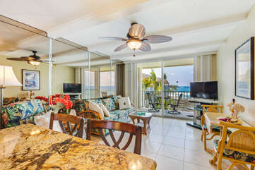 Living Area with Views of the Ocean and Lanai Access