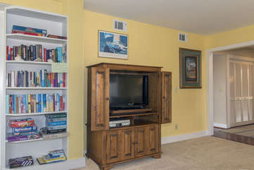 The family room features a large HDTV for movies, and favorite shows.